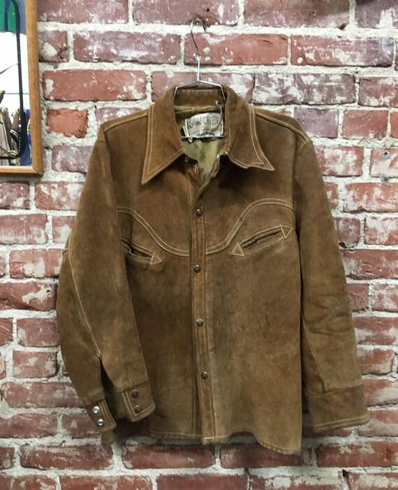 70s Schott Bros Men's Suede Jacket Size Large