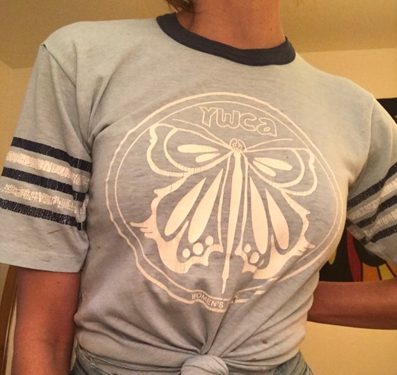 Rare 70s YWCA Baby Blue Ringer Tee Size Medium