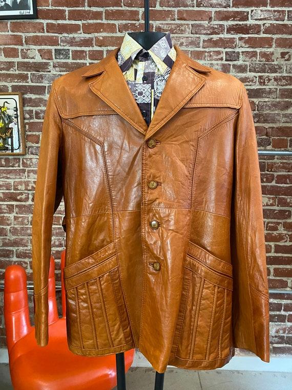 "70s Men's Wilsons Burnt Orange Leather Jacket 44"""