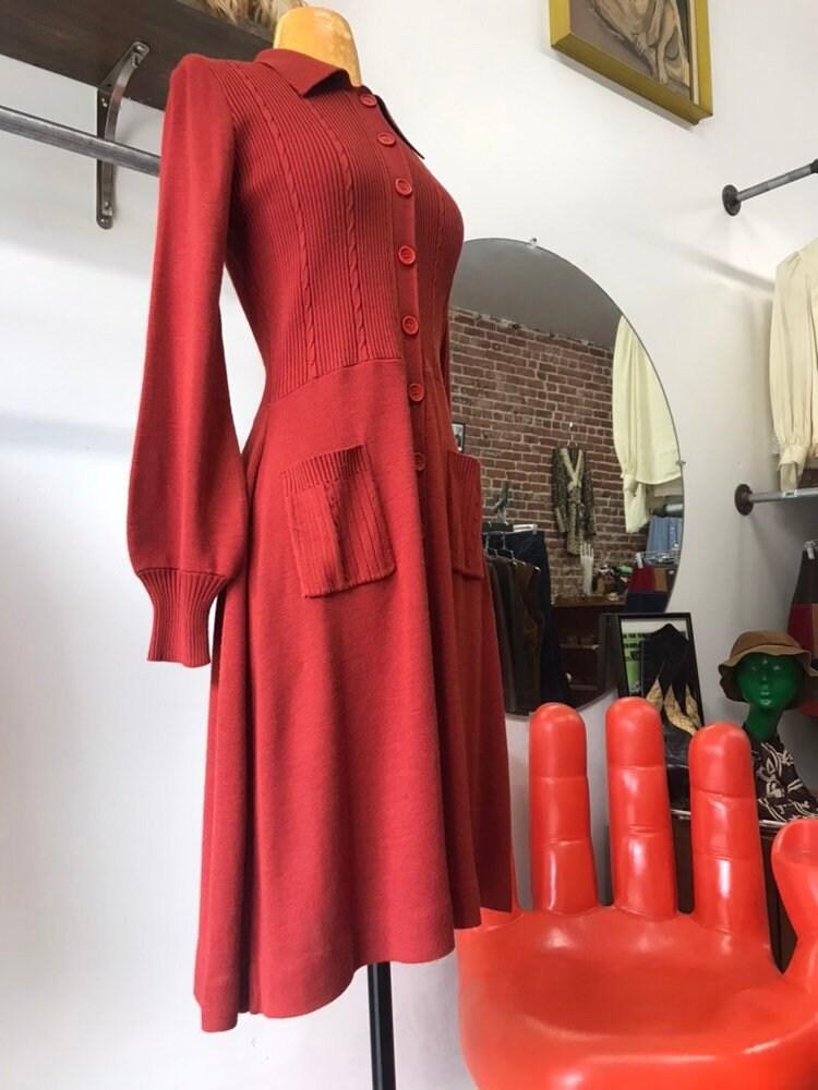 c5bca4016b8 70s Burnt Orange Acrylic Knit Dress with Pockets