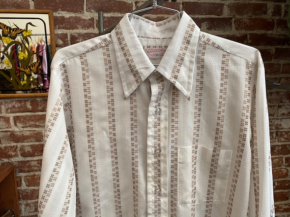 Mens 70s Geometric Stripes Button Down Shirt