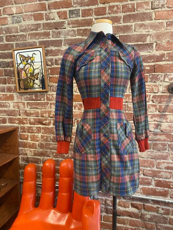 70s Plaid Long Sleeve Mini Dress - image 7