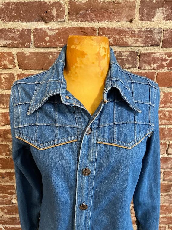 70s 100% Cotton Denim Window Pane Jacket