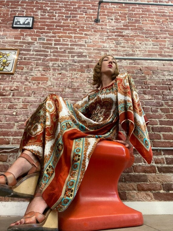 70s Psychedelic Mandala Angel Sleeve Gown