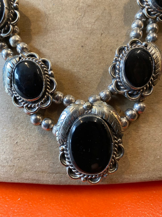 70s Onyx Squash Blossom Necklace