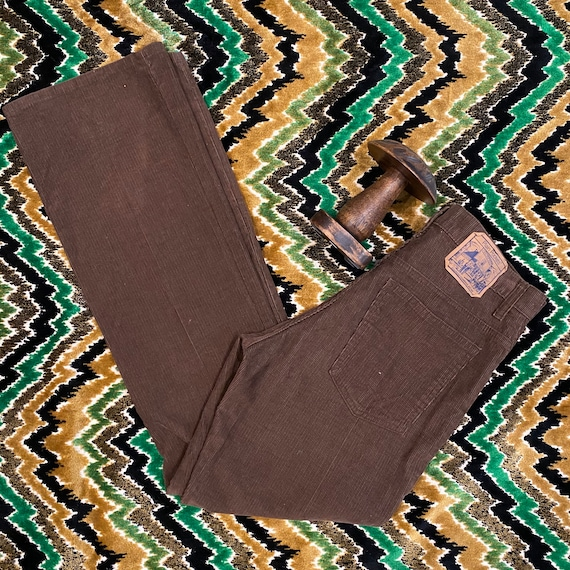 """Mens 70s Chocolate Brown Corduroy Flares by Plain Pockets 32"""" Waist"""