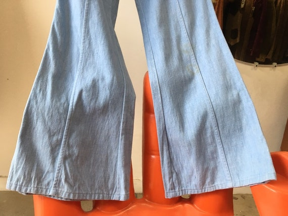 "70s Men's Flares 32"" Waist by 31"" Inseam Brushed Denim Jeans Cornflower Blue Bell Bottoms Vintage Seventies 1970s"