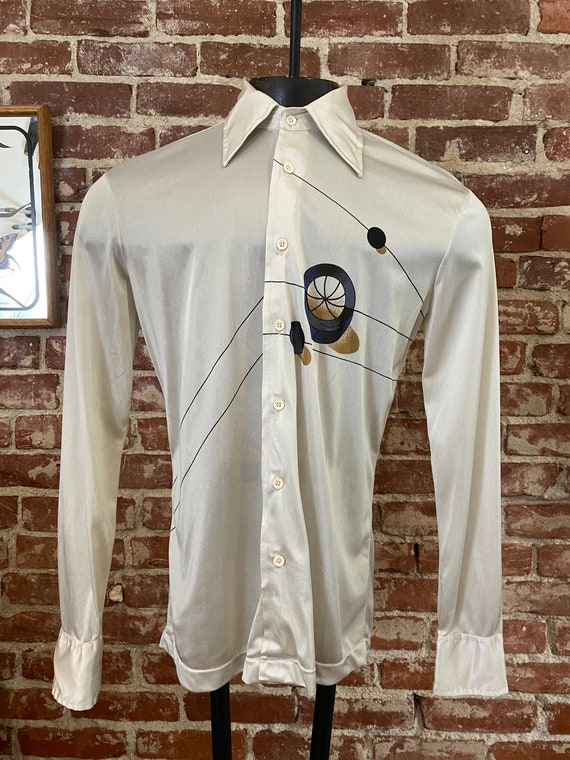 70s Men's Space Age Button Down Shirt