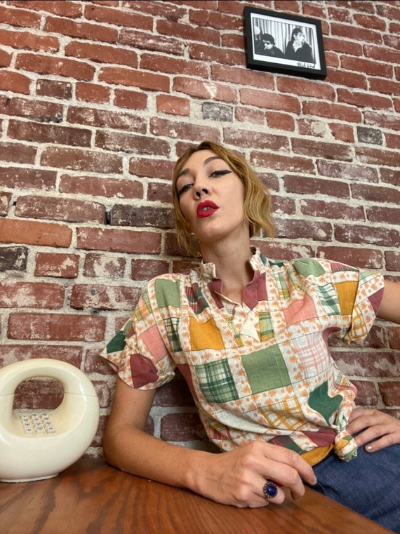 70s Patchwork Cotton Raglan Blouse