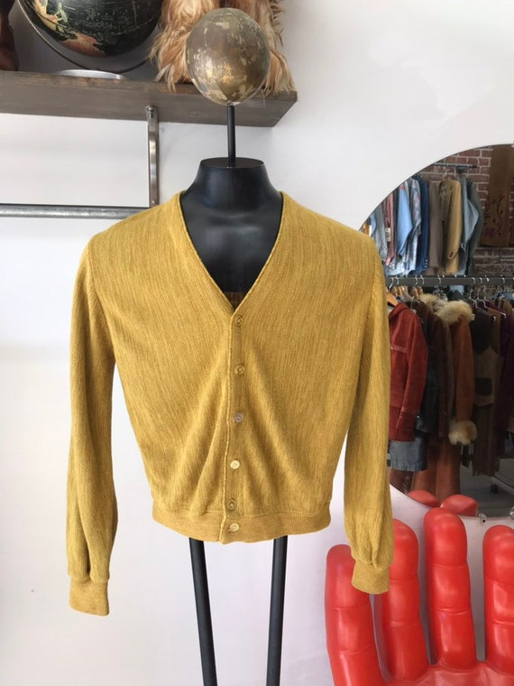 Mens 70s Mustard Acrylic Cardigan Sweater