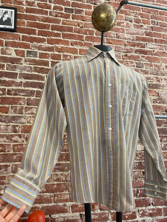Mens 70s Striped Dagger Collar Shirt