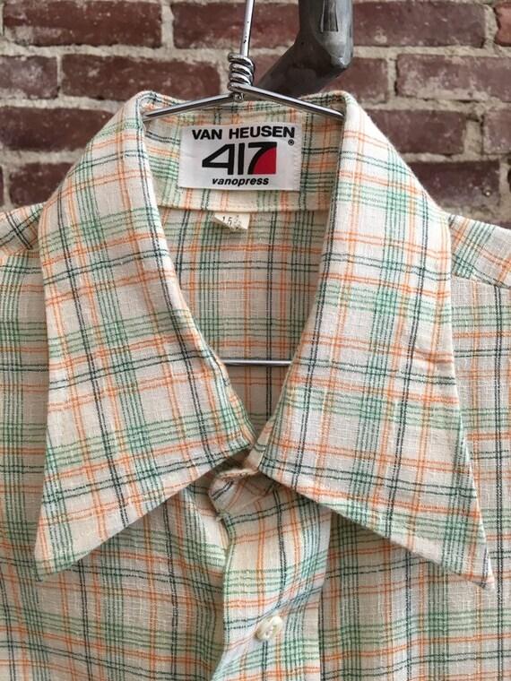 70s Men's Woven Cotton Double Button Cuffed Shirt