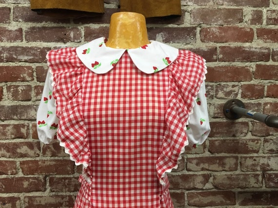 Reserved. Do not buy. 70s Peignoir Style Cotton Red Gingham Gown Vintage