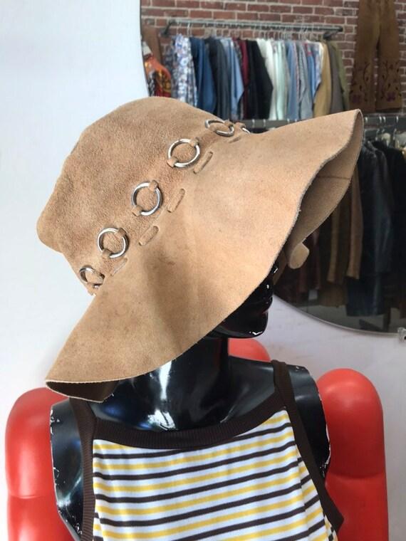 70s Suede Hoop Ring Floppy Sun Hat