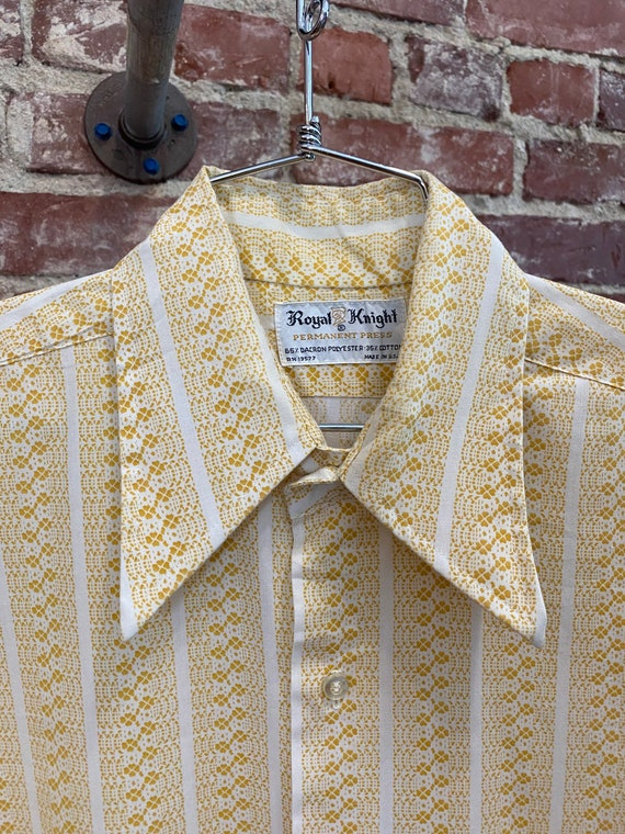 Mens 70s Mustard Striped Psychedelic Button Down Shirt
