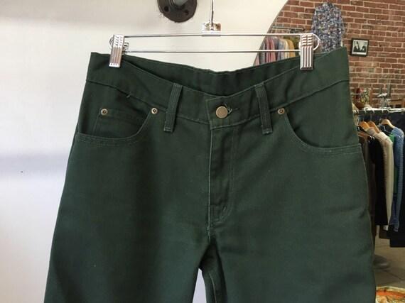 """70s Men's Green Denim Jeans 31"""" Waist by 30"""" inseam"""