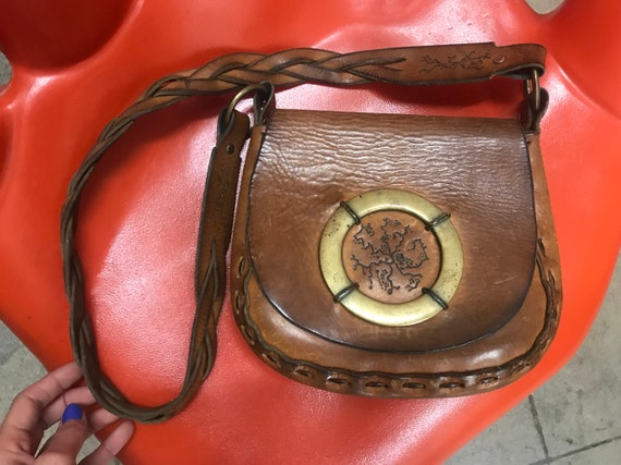 70s Tooled Leather Braided Satchel Purse wurh Giant Brass Hoop Ring Detail Vintage