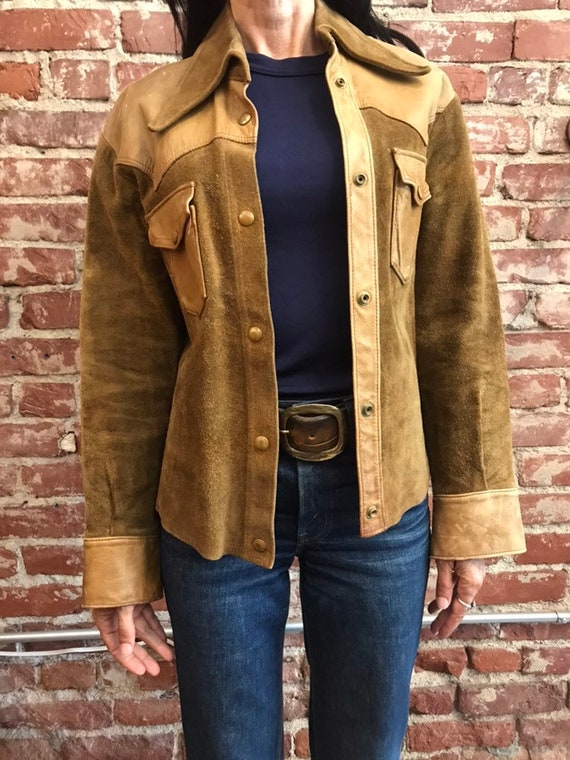 70s Leather and Suede Shirt Cut Jacket