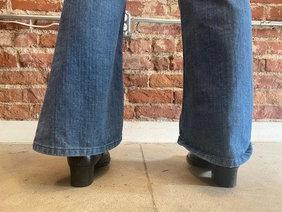 70s Lee Denim Saddle Back Denim Flared Jeans - image 3