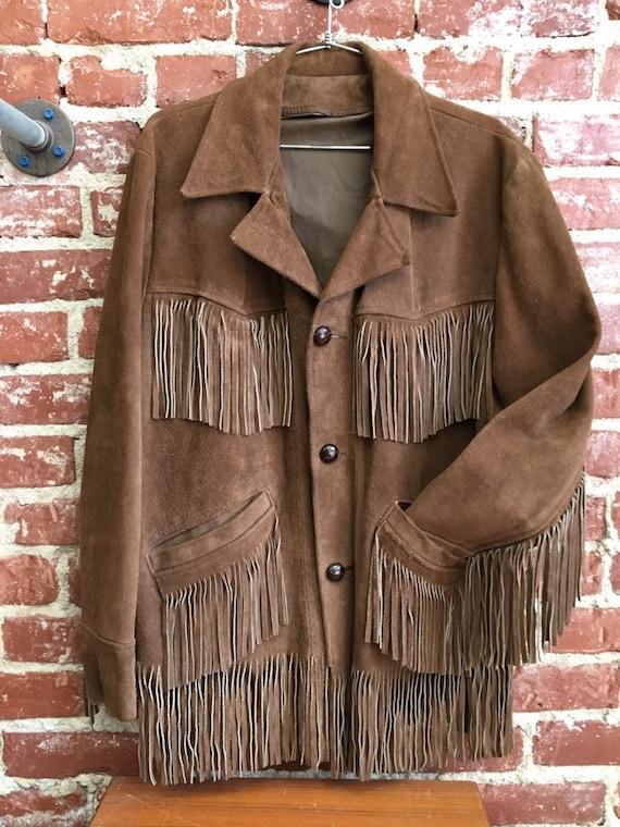 70s Men's Fringe Suede Jacket Vintage