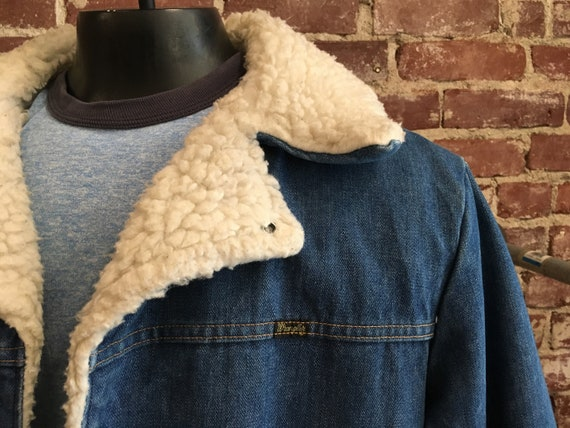 70s Men's Wrangler Denim and Shearling Snap Button Coat