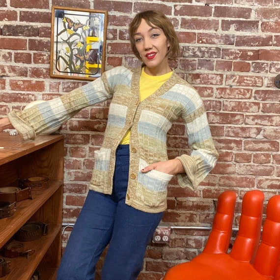 70s Space Dyed Acrylic Cardigan Sweater