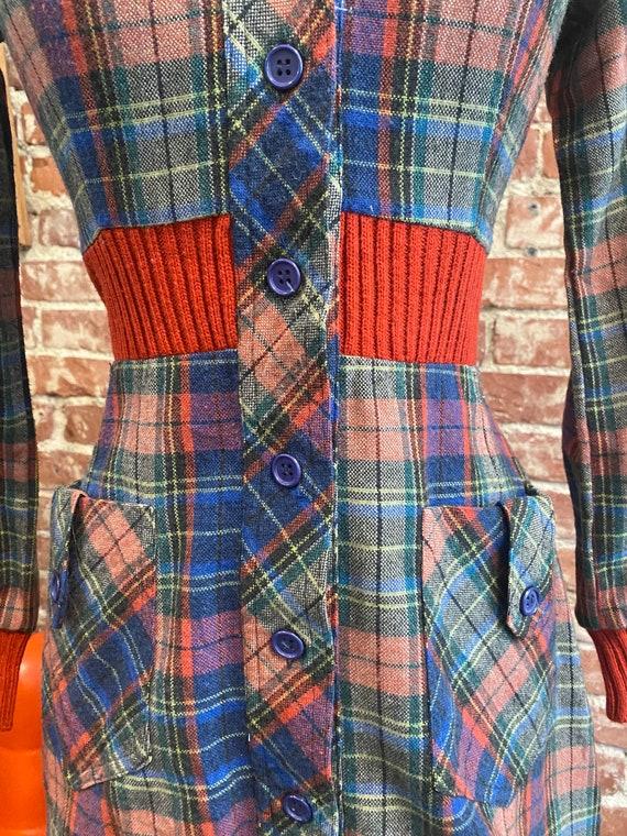 70s Plaid Long Sleeve Mini Dress - image 4