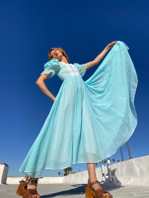 70s Aqua Gauze Cotton Ruffled Sleeve Dress