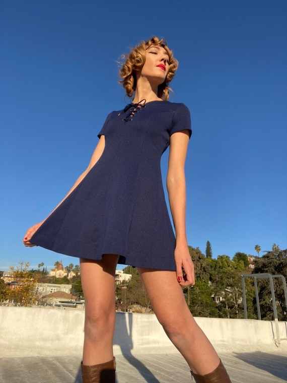 70s Corset Navy Mini Dress