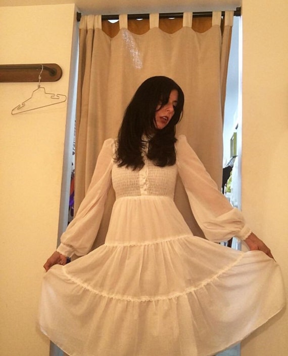 70s Victorian Crisp White Cotton Ruched Dress By Jody T of California
