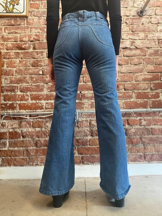 70s Lee Denim Saddle Back Denim Flared Jeans - image 2