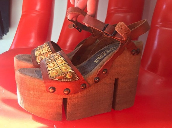 70s Made in Italy Rare Ultra High Wooden Platforms Size 7 Vintage Seventies 1970s European Vintage