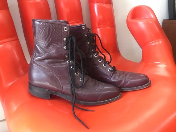 70s Leather Oxblood Lace Up Victorian Boots Size 7