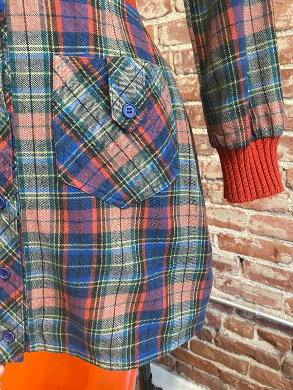 70s Plaid Long Sleeve Mini Dress - image 6
