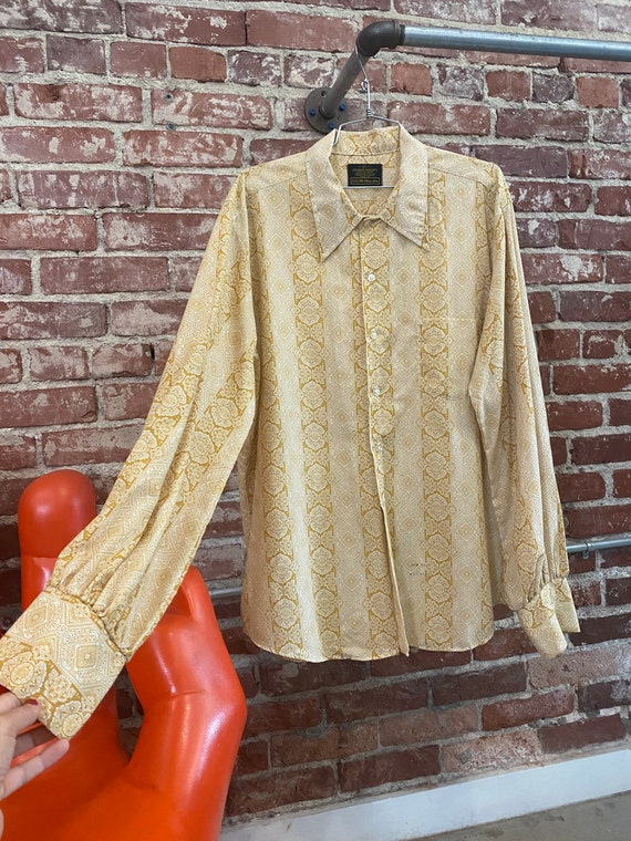 Mens 70s Mustard Psychedelic Shirt with Fantastic