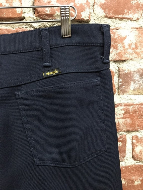 "70s Men's Wrangler Navy Blue Slacks 33"" Waist by 29.5"" Inseam Vintage Seventies 1970s"