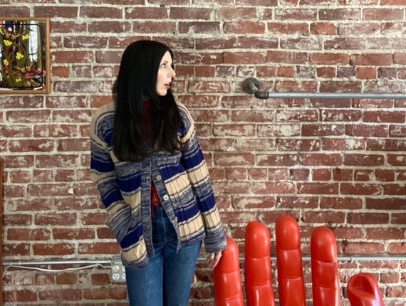 70s Space Dyed Blue Cardigan Sweater