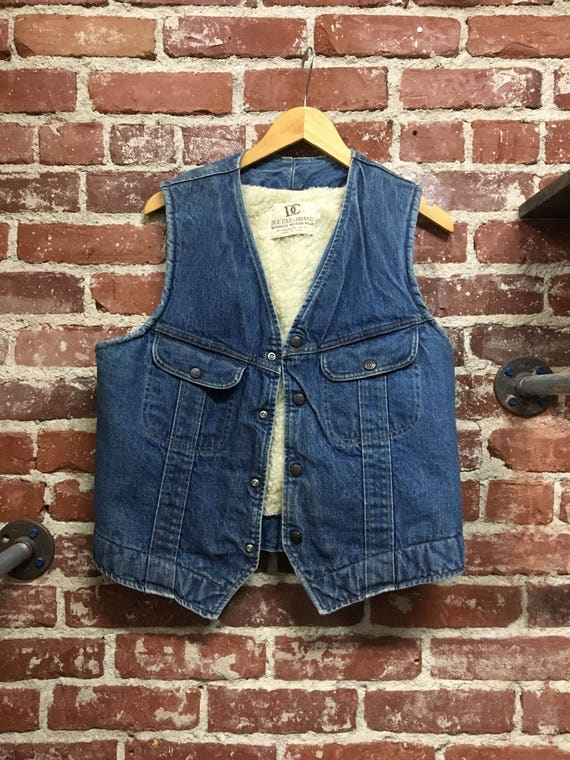 70s Men's Denim and Shearling Vest. Made by Dee Cee Size Large