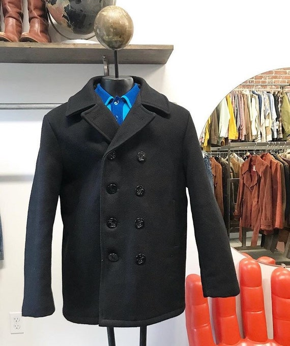 """70s Men's Schott NYC Black Wool Pea Coat Size 44"""" Chest Vintage Seventies 1970s"""