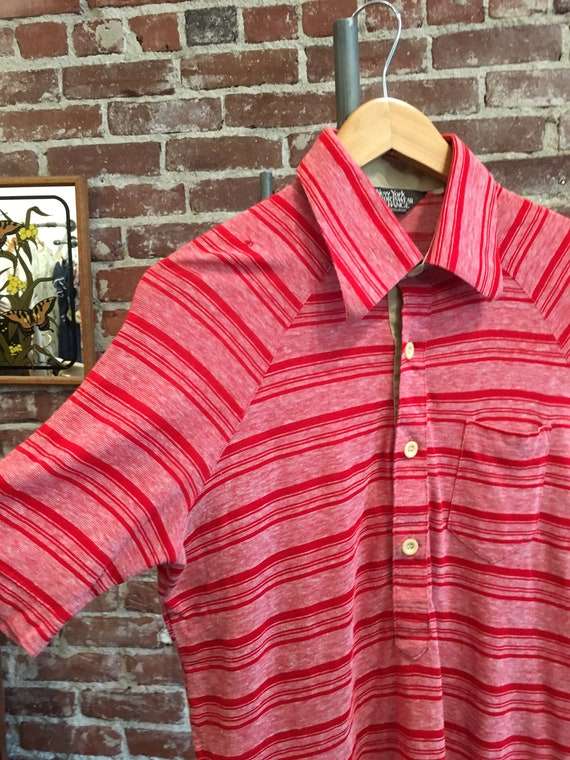 70s Men's Striped Red Mod Polo