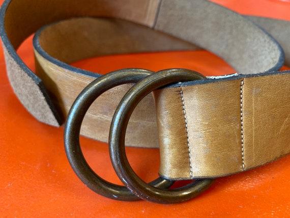 70s Brass Hoop Ring Leather Belt