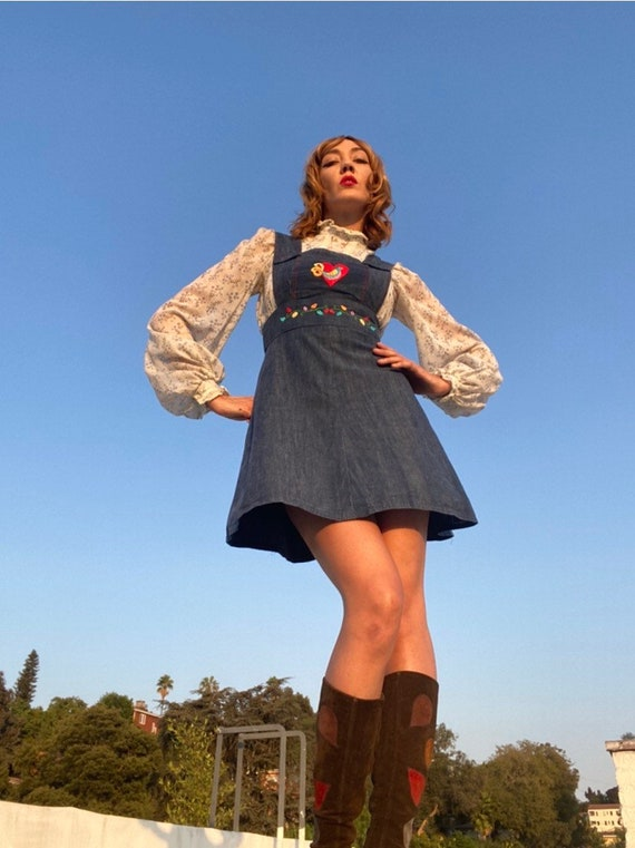70s Embroidered Denim A Line Jumper Mini Dress