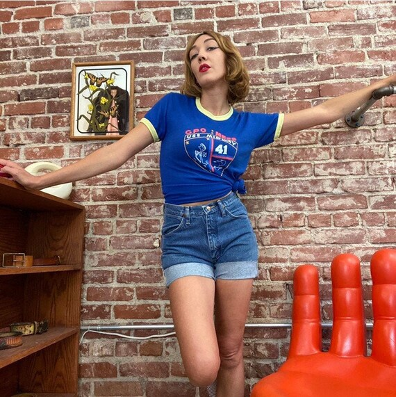 70s Ringer Tee USS Midway Nautical T-Shirt