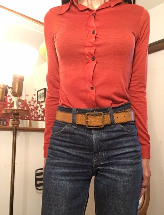 "70s Embossed Ombré Brass Buckle Thin Belt 30"" to 36"" waist"