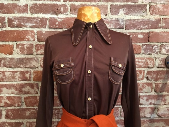 70s Rounded Dagger Collar Mod Blouse