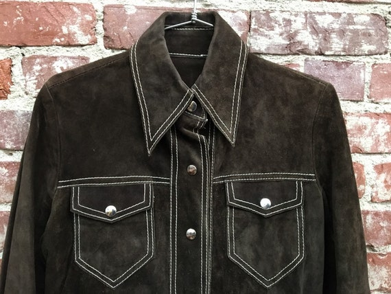 70s Men's Unisex Esspresso Suede Shirt Cut Jacket Size Small Vintage Seventies 1970s