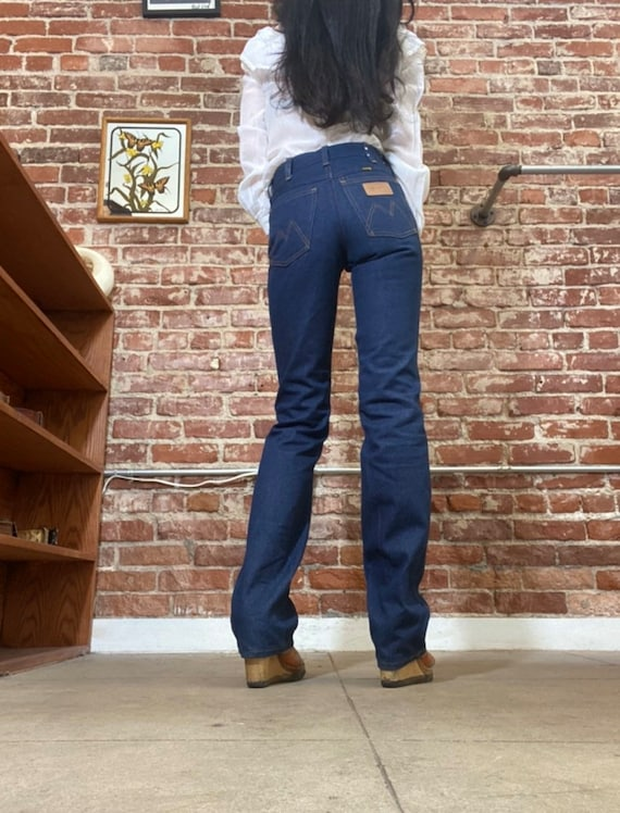 70s Maverick Dark Denim Strait Leg Jeans Size Peti