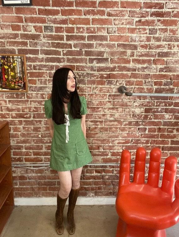 70s Corset Neckline Green Cotton Mini Dress Size P