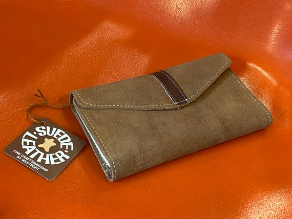 70s Caramel Deadstock Suede Wallet with Leather Details made In Brazil