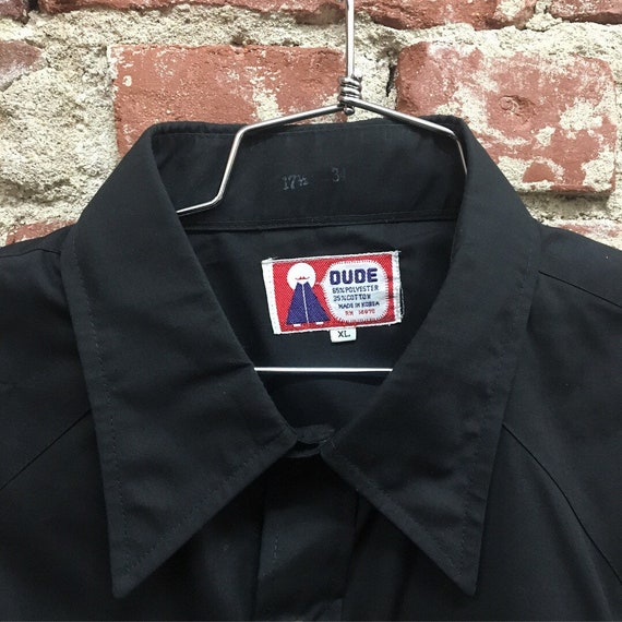 70s Men's Seventies 1970s Black Western Shirt. Size Extra Large.